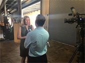 Commission Chair Katherine Waldron being interview by WPTV.