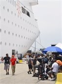 Production company pictured on dock alongside Bahamas Paradise Cruise Line's Grand Classica