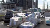 Relief supplies for Green Turtle Cay before being loaded onto the VI-NAIS Ro-Ro Cargo Ship