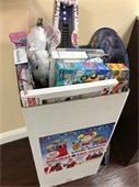 Toy drive collection bin in lobby