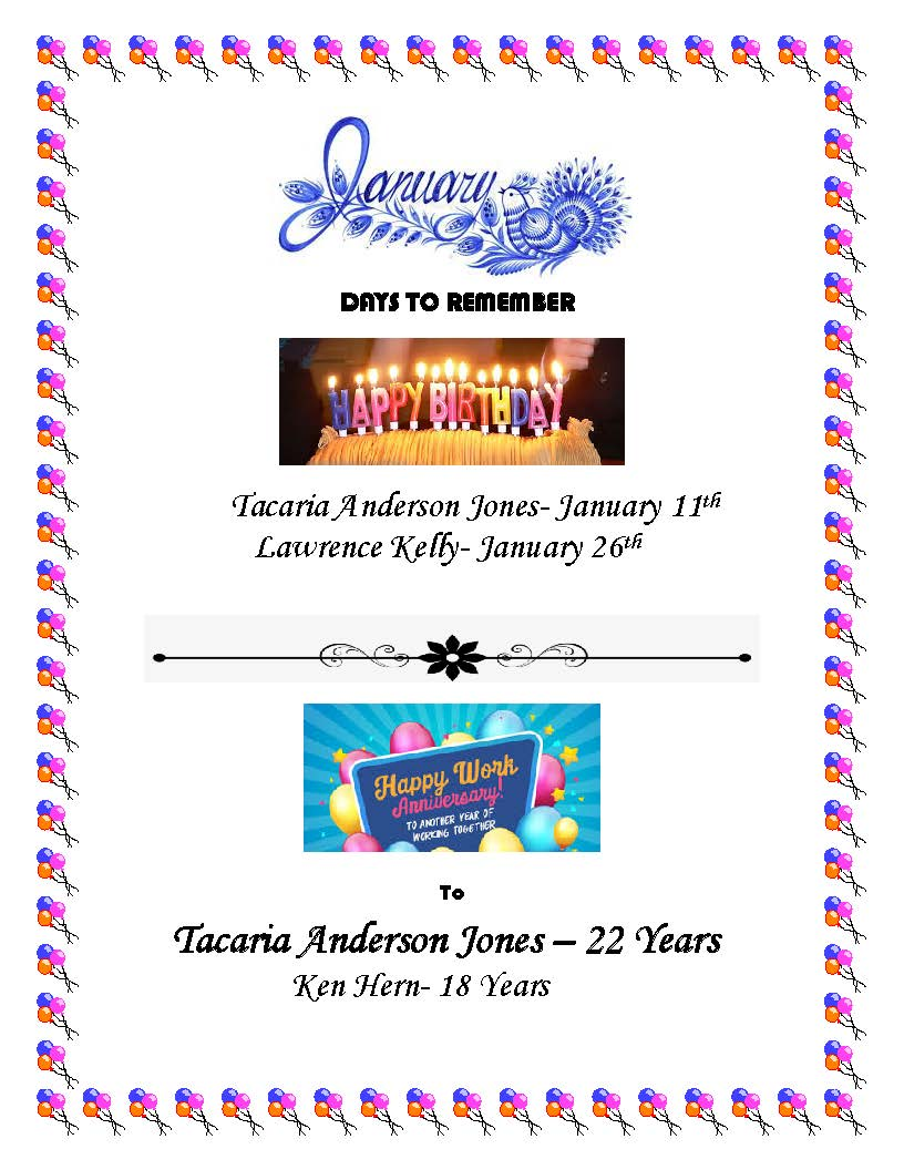 January Birthdays &  Anniversaries Poster